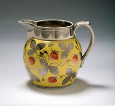 Gorgeous Staffordshire Pottery enamel decorated with silver resist lustre jug, c. 1810