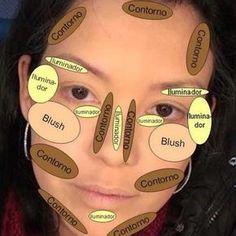 1 - Repense o conceito de contorno Muitas mulheres ainda tem receio de aplicar os produtinhos para criar o contorno do rosto. Makeup 101, Love Makeup, Makeup Brushes, Makeup Looks, Makeup Guide, Makeup Ideas, Maquillage Pin Up, Maquillage Black, Contour Makeup