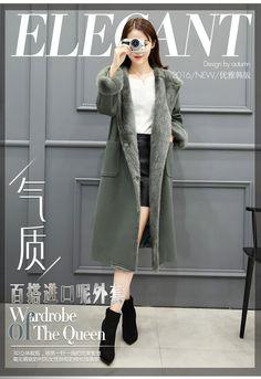 2016 Новый Женский зима корейской версии длинный участок шерстяной пиджак женщины осень и зима корейский утолщенный над коленом шерстяное пальто-Таобао