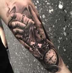 3D Pocket watch and hand tattoo - 100 Awesome Watch Tattoo Designs