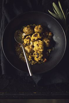 Vegan Pumpkin Stew: Whiskey Barley and Lentils, Pumpkin Dumplings, and Charred Cauliflower