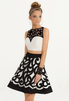 Laser Cut Two-Piece Dress