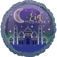 This Eid Mubarak Balloon features a picture of a mosque against a green and purple background. Use this reusable balloon to create a custom balloon bouquet to use during Eid al-Fitr or Eid al-Adha! Eid Balloons, Round Balloons, Custom Balloons, Images Eid Mubarak, Eid Mubarak Card, Eid Images, Ramadan Images, Ramadan Mubarak, Oktoberfest Halloween