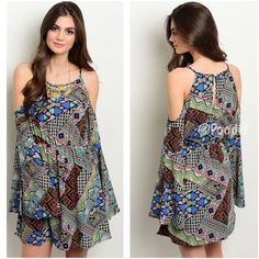 """Boho  flare sleeve dress Large Boho cold shoulder adorable dress   Large  Key hole back  Large flare sleeves  Fully lined  EXCELLENT quality and NWT  maximum measurements for proper fit:   Large bust up to 38 elastic waist up to 36 hips up to 46  Length from shoulder down 29""""  100% polyester Boutique label Dresses"""