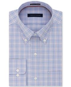 513e25fc Tommy Hilfiger Men's Classic/Regular Fit Non-Iron Blue Check Dress Shirt  Men - Dress Shirts - Macy's