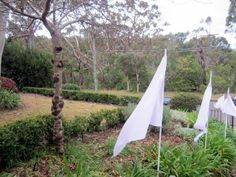 Forget the balloons, line the driveway with quick-to-make flags. Use cheap skirt-liner fabric (flutters well!) and glue onto curtain rods. The more the merrier.