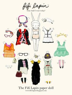 Free printable Fifi Lapin paper doll. So cute! (Just ignore the fact that the rabbit wears lingerie.)