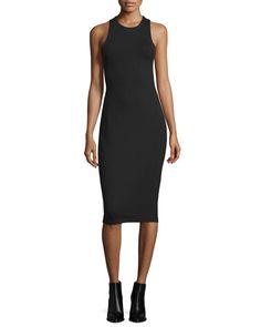 TBGHQ T by Alexander Wang Sleeveless Ponte Bandeau Midi Dress, Black