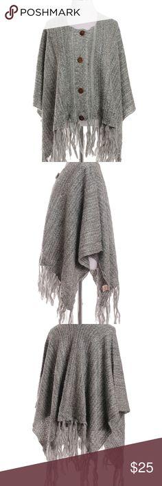 "Women's Poncho Button Closure Knit Fringe Gray utton Knit Poncho - Front Four Buttons Closure Décor - Two Tone Embossing Knitted Décor - Tassel Ends Décor (Tassel Length: 7.75"") - One Size Fits Most - 100% Acrylic Material - Approximate Size   Length Top to Bottom : 36"" (With Tassel)  21.50""(L) X 50.00""(W) X 0.25""(H) Jackets & Coats Capes"