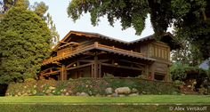 The Gamble House in Pasadena, California, is an outstanding example of American Arts and Crafts style architecture. The house and furnishings were designed by Charles and Henry Greene in 1908 for David and Mary Gamble of the Procter & Gamble Company. The house, a National Historic Landmark, is owned by the City of Pasadena and operated by the University of Southern California and is open for public tours.