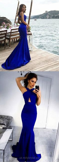 Blue Prom Dresses, Long Prom Dresses, 2018 Prom Dresses For Teens, Silk-like Prom Dresses Satin, Scoop Neck Prom Dresses Trumpet/Mermaid #mermaiddresses #promdresses