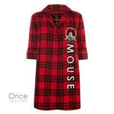 PRIMARK Ladies DISNEY MICKEY MOUSE Tartan CHRISTMAS Nightdress Night Shirt