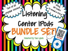 Listening Center with a TWIST using QR Codes! 60 popular stories for your kids to scan and watch including Interrupting Chicken, Pete the Cat, The Giving Tree and many, many more! Kids love scanning the QR Codes and watching the stories! This is a BUNDLE of fun!