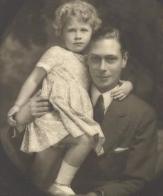 Queen Elizabeth as a child with her father.