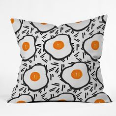 Bouffants and Broken Hearts Eggs Throw Pillow | DENY Designs Home Accessories
