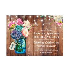 Rustic Mason Jar String Lights Floral Wedding Card ($2.01) ❤ liked on Polyvore featuring home, home decor and stationery