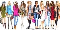 Fashion Illustrations of street fashion bloggers by houston fashion illustrator Rongrong DeVoe