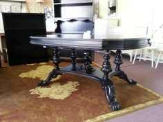antique dining table walnut 1920 1930 vintage rectangle solid wood