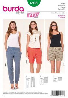 Burda Ladies Easy Sewing Pattern 6938 Casual Trouser Pants