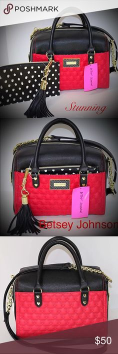 Betsy Johnson Handbag two piece This is an authentic Betsy Johnson Handbag new with tags included pouch. This is a stunning bag nice colors Betsey Johnson Bags Satchels