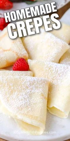 Crepes are a fancy and fun breakfast or brunch recipe that the whole family enjoys. This homemade crepe recipe is easy, delicious, and quick to make. Just add your favorite crepe fillings! Mexican Breakfast Recipes, Brunch Recipes, Sweet Recipes, Dessert Recipes, Salad Recipes, Easy Crepe Recipe, Crepe Recipes, Homemade Crepes, Baking Recipes