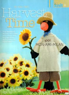 Harvest Time Feathered Farmer by Alan Dart Toy Knitting Pattern: Measurements tall (Simply Knitting Magazine Pull Out Pattern) Simply Knitting, Double Knitting, Birthday Greeting Cards, Birthday Greetings, Knitting Stitches, Knitting Patterns, Knitting Toys, Teddy Bear Knitting Pattern, Alan Dart