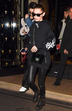 Kendall Jenner and Bella Hadid are seen on January 24 2017 in Paris France