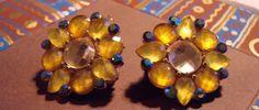 Elegant Spring  Rhinestone Flower Earrings Clip On by EveGorgeous, $15.00