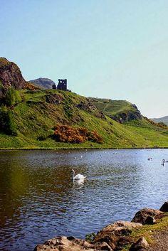 Arthur's Seat and St Margaret's Loch in the foreground  Edinburgh, Scotland