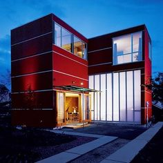 Red box house! goo.gl/33uo5 half baths, red hous, little houses, product design, tiny houses, bathrooms, big city, small houses, backyards