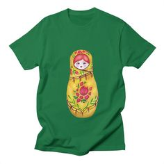 by tanjica's Artist Shop FREE SHIPPING for Valentine's Day! Use code: VDAY88e313 matruosha nesting russian doll,Russia,hand drawn,hand painted,aquarelle,watercolor,original artwork,babushka,eastern europe,red hair,ginger hair,motherhood,family,fertility,pregnancy,matriarch,mother earth,life,vitality,reproduction,vibrant,colorful,complementary colors,contrast,red and green,joy,happiness,childhood,childrens room,flowers,petals,leaves