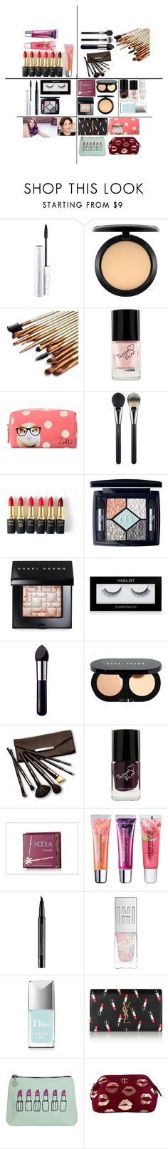 """""""Categories: Lip makeup, brushes, eye makeup, face makeup,  nail polish, makeup bags and zoella and tanya burr!"""" by makeup-and-fashion-loverr ❤ liked on Polyvore featuring beauty, MAC Cosmetics, L'Oréal Paris, Christian Dior, Bobbi Brown Cosmetics, Inglot, By Terry, Borghese, Benefit and Maybelline"""