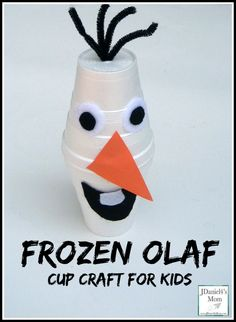 Disney Frozen Craft Ideas: Olaf Cup Craft -- Winter Wonderland Wands -- Frozen Beaded Snowflakes -- String Cheese Snowmen -- Sock Olaf -- Olaf Pencil Holder