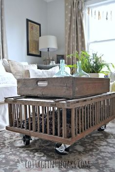 Vintage chicken crate coffee table