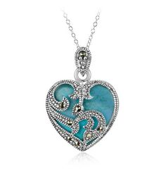 $14.99 - Turquoise & Marcasite Sterling Silver Heart Pendant