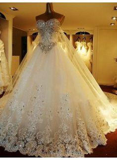 Amoureux de luxe décolleté organza et dentelle avec des perles et strass des robes de mariée A-Line