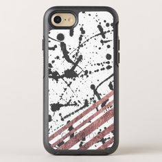 Modern Black Ink Splatter Rose Gold Stripes OtterBox Symmetry iPhone 8/7 Case