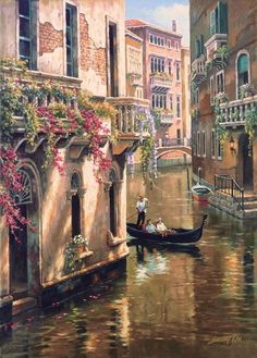 wall pictures for living room Landscape oil painting hand painted modern art Venice Afternoon Chat High quality Pictures To Paint, Art Pictures, Photos, Belle Image Nature, Images D'art, Venice Canals, Venice City, Painting Inspiration, Painting & Drawing