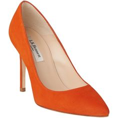 L.K. Bennett Fern Court Shoes , Orange Suede (17.140 RUB) ❤ liked on Polyvore featuring shoes, pumps, orange suede, high heel stilettos, flat shoes, pointed flat shoes, high heel shoes and low pumps