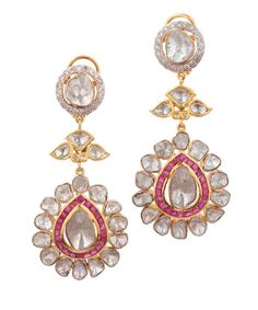 Good quality of earring in 18k gold with new barma rubies , uncut diamond polki and on tops double cut diamond. Perfect earring for any occasion.