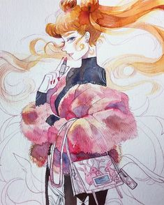 Etiquette - Was inspired by James Jean's work for #Prada, thought Usagi of course would be the perfect girl to rock this bag :) #sailormoon #doodledays