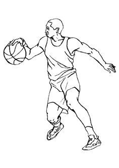 Dessin à colorier d'un grand joueur de Basketball
