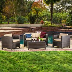 Christopher Knight Home Puerta 4-piece Brown Outdoor Wicker Sofa Set - Overstock™ Shopping - Big Discounts on Christopher Knight Home Sofas, Chairs & Sectionals