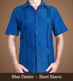 Blue Denim Guayabera - Short Sleeve