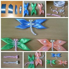 Kanzashi Dragonfly Ribbon Bead Craft Video