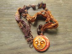 Mixed Media Polymer Clay Sun and Moon Rustic by SpontaneousSoul