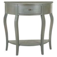 """Elm wood demilune console table with one drawer and cabriole legs.     Product: Console tableConstruction Material: Elm woodColor: GrayFeatures: One drawer One bottom shelf Dimensions: 32.9"""" H x 32.7"""" W x 14.2"""" D"""