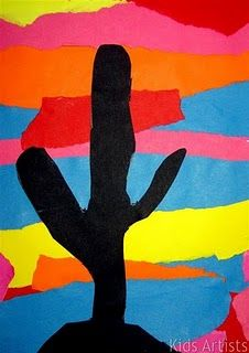 By tearing stripes of different colours of paper, children create a sunset. Draw a big cactus on black paper and cut it out. Paste the cactus on the sunset sheet.