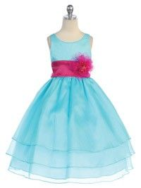 Aqua 3 Layered Organza Pick Your Sash Flower Girl Dress  (Infants-Size 12 in 10 Colors)