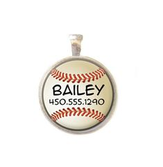 Pet ID Tag - Personalized with Name and Number - Baseball - Dog Tag on Etsy, $8.00